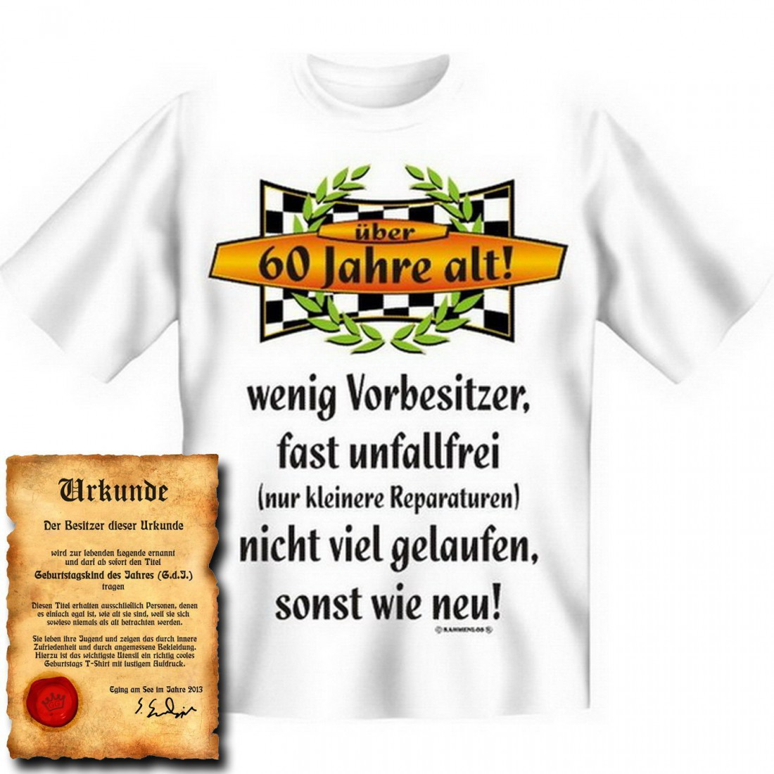 lustiges t shirt zum 60 geburtstag ber 60 jahre alt unfallfrei funshirt als coole. Black Bedroom Furniture Sets. Home Design Ideas