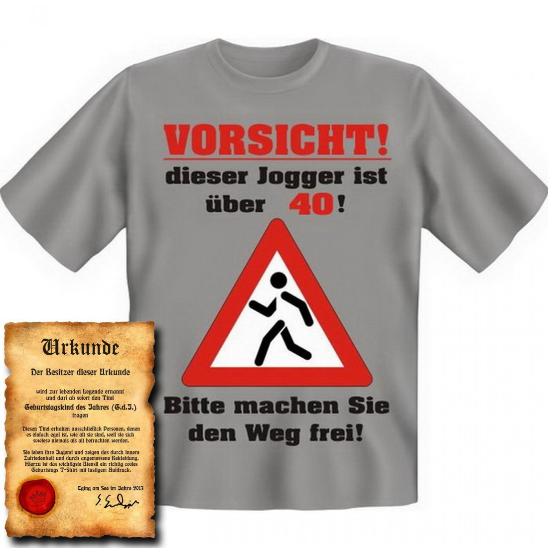 lustiges t shirt 40 geburtstag vorsicht dieser jogger ist ber 40 funshirt als coole. Black Bedroom Furniture Sets. Home Design Ideas