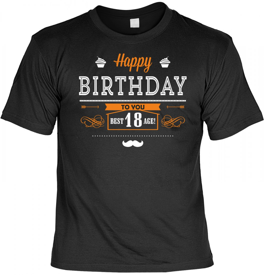 lustiges t shirt happy birthday to you 18 jahre. Black Bedroom Furniture Sets. Home Design Ideas