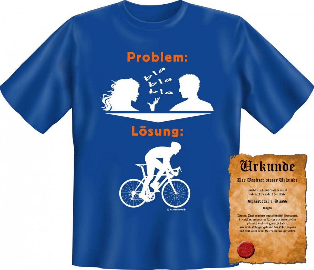 lustiges t shirt fahrrad die l sung bei quasselnden. Black Bedroom Furniture Sets. Home Design Ideas